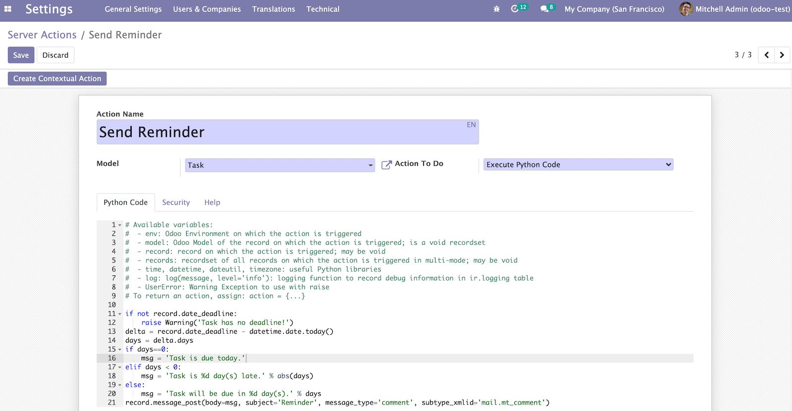 Odoo 14开发者指南第十二章 自动化、工作流、Email和打印件
